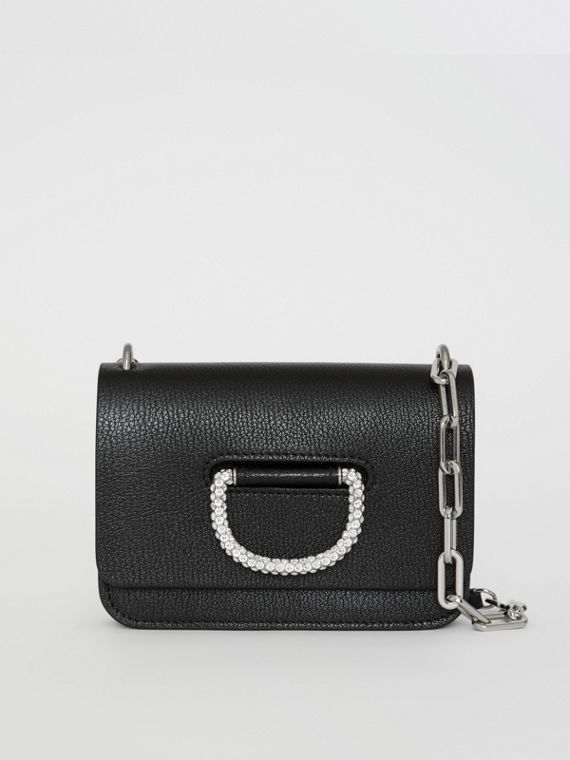 The Mini Leather D-ring Bag with Crystal Details in Black