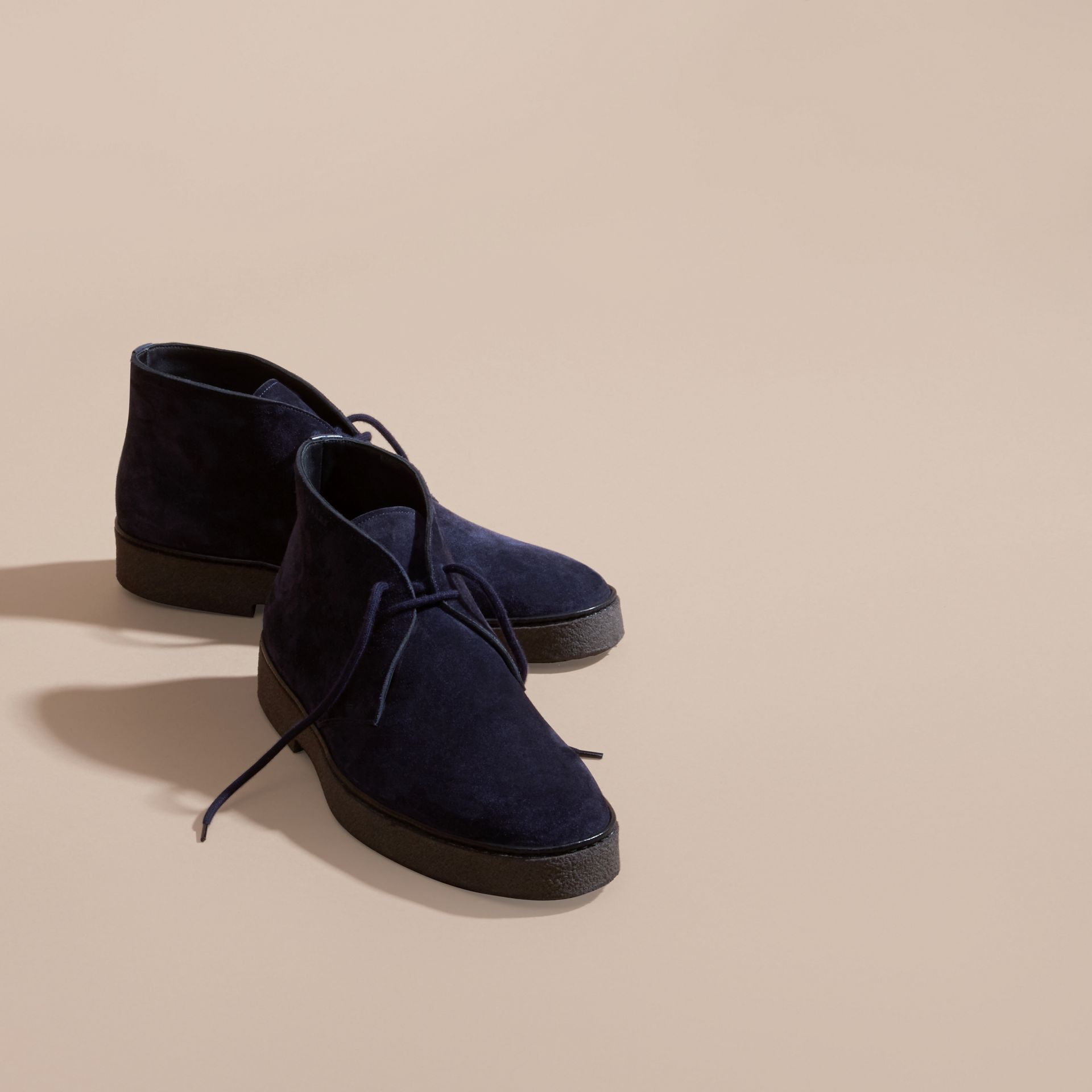 Crepe Sole Suede Desert Boots in Navy - gallery image 3