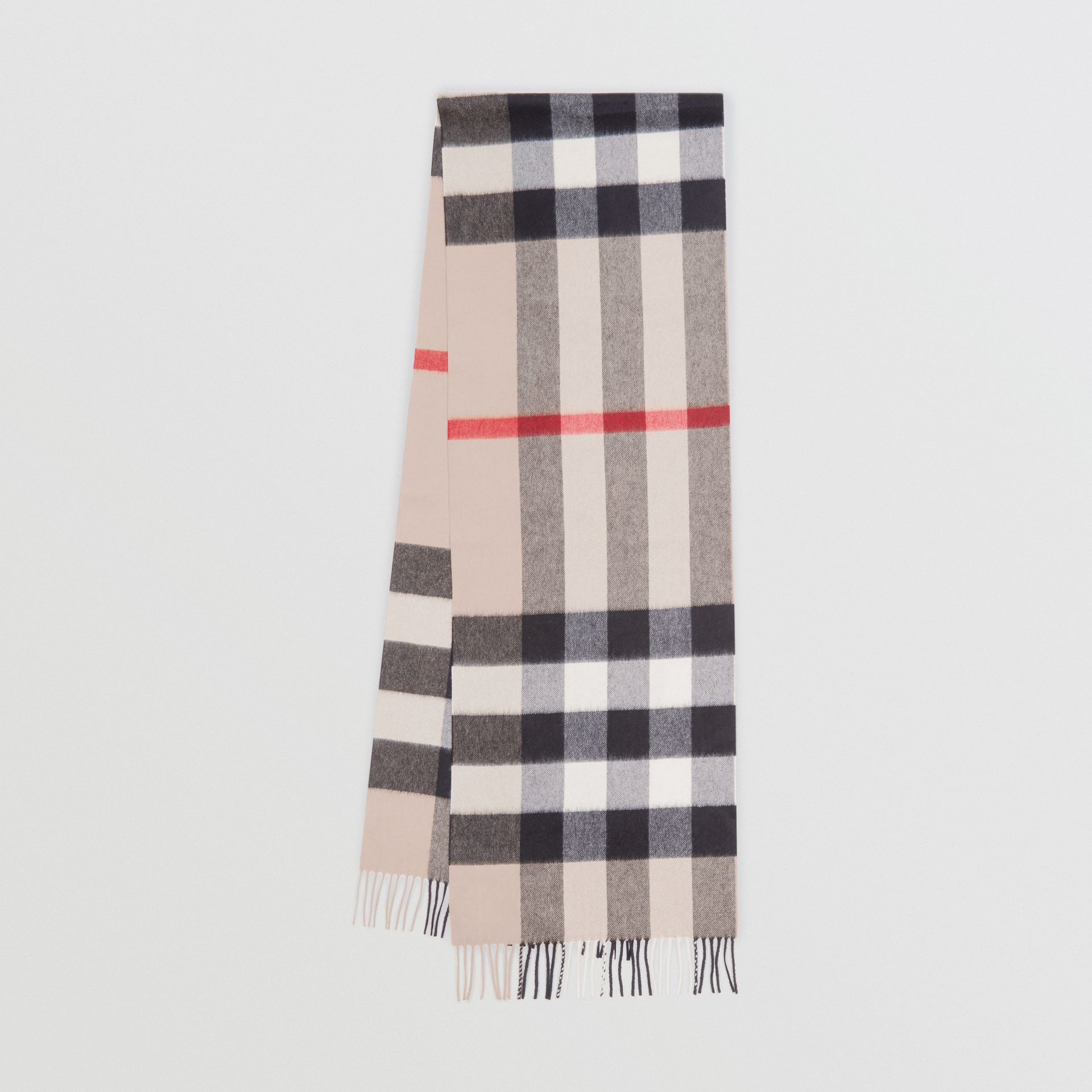 Check Cashmere Scarf in Stone | Burberry United Kingdom - gallery image 0