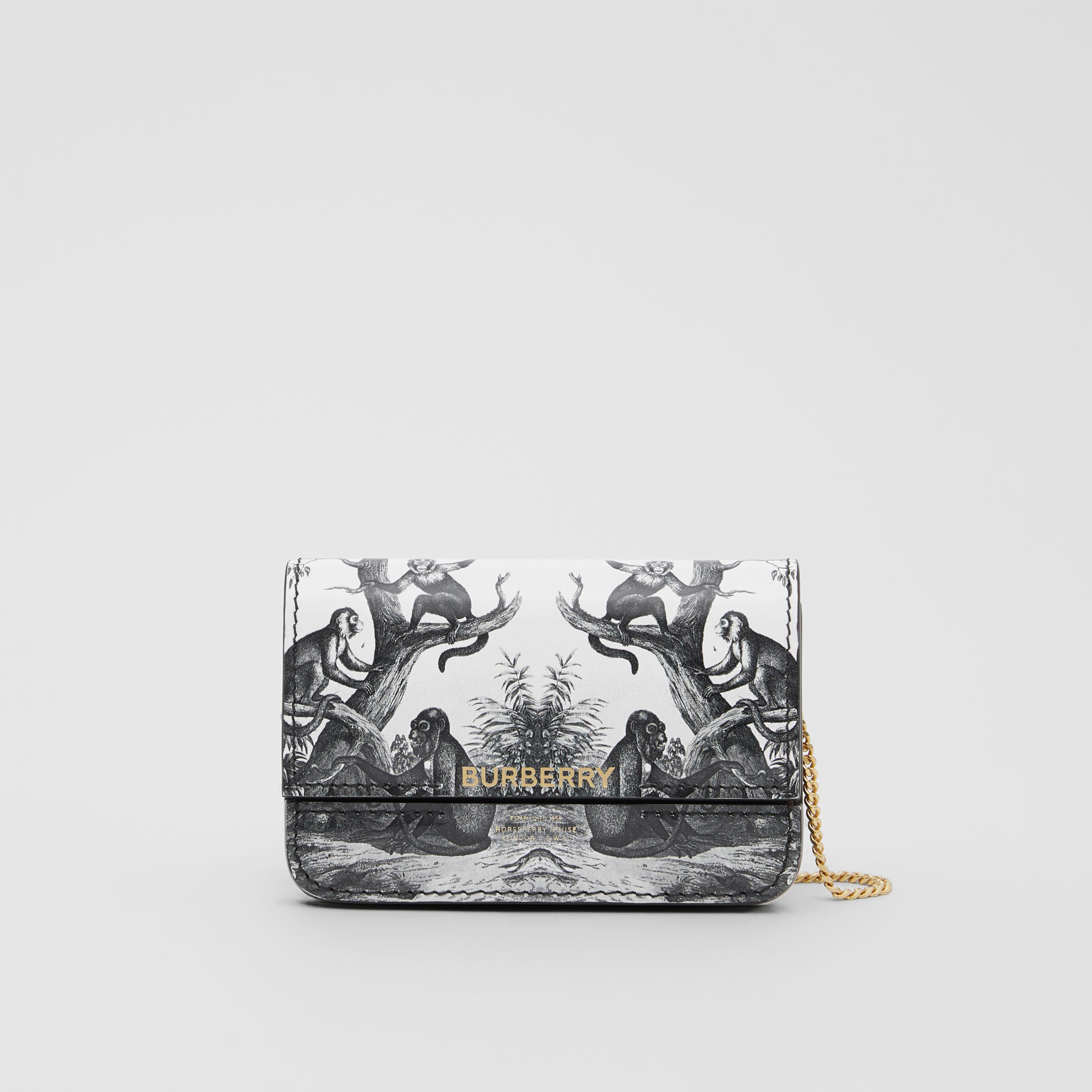 Monkey Print Leather Card Case with Chain Strap in Black/white | Burberry Australia - 1