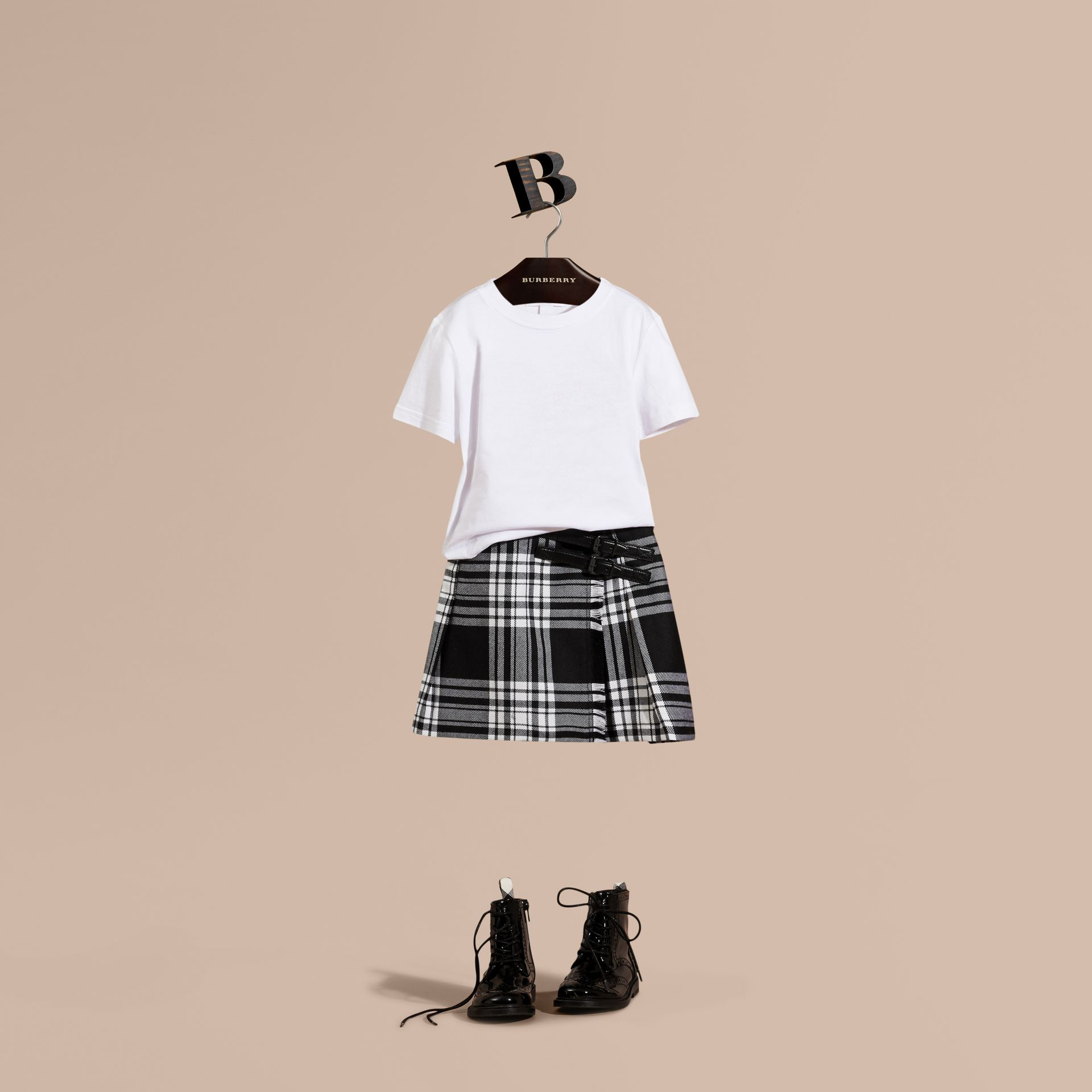 Black/white Check Wool Kilt - gallery image 1