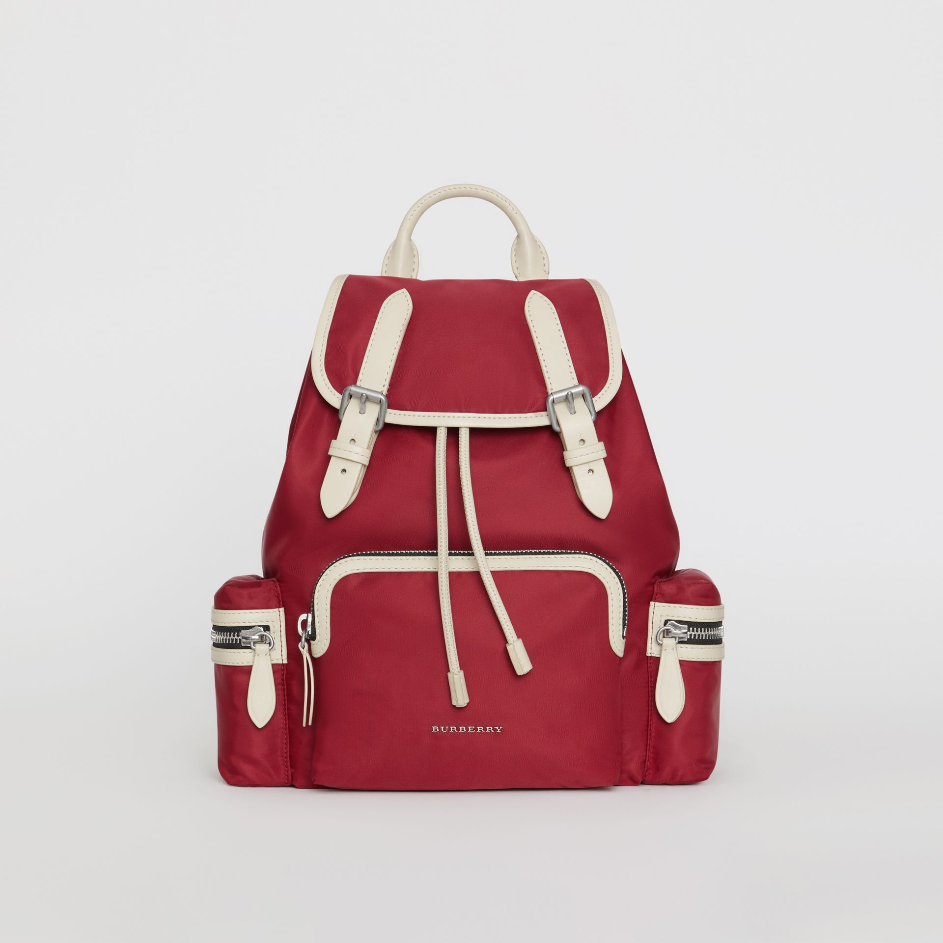 The Medium Rucksack in Technical Nylon and Leather in Crimson - Women | Burberry Australia - gallery image 0