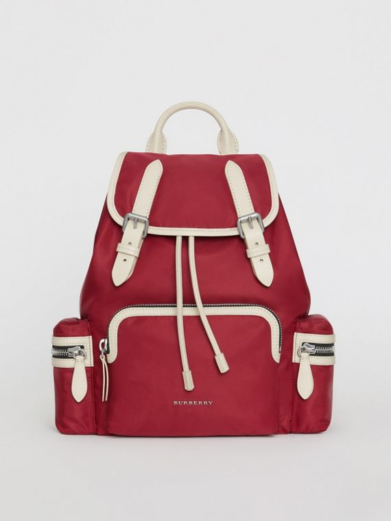 The Medium Rucksack in Technical Nylon and Leather in Crimson