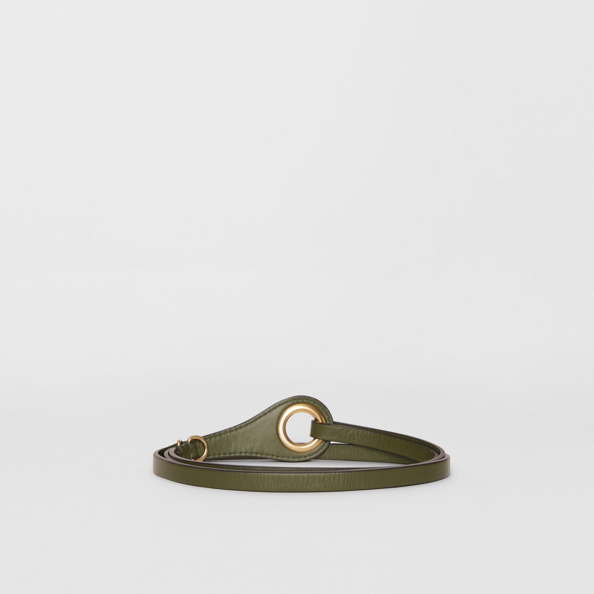 Grommet Detail Lambskin Belt in Dark Olive - Women | Burberry - gallery image 4
