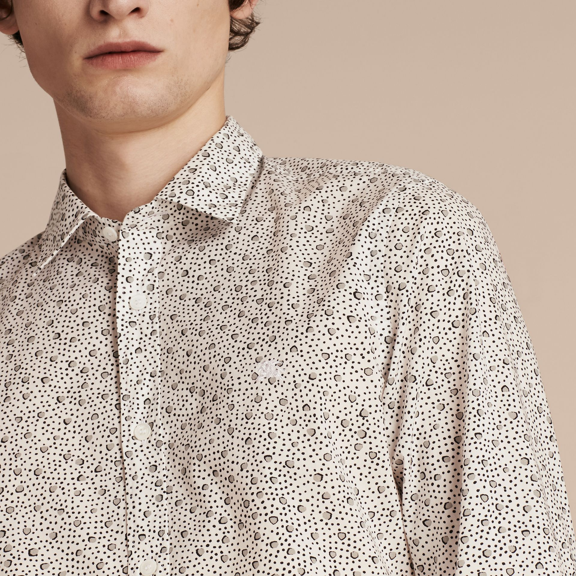 White Painterly Spot Print Cotton Shirt White - gallery image 5