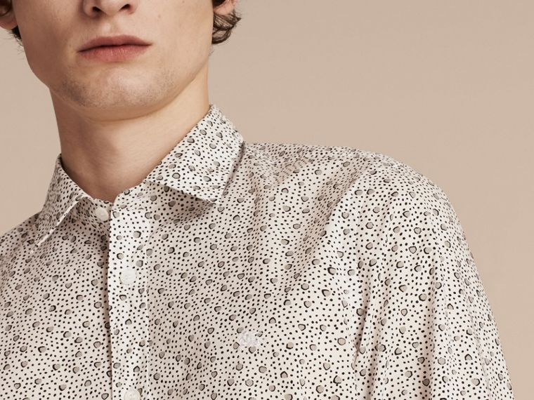 White Painterly Spot Print Cotton Shirt White - cell image 4