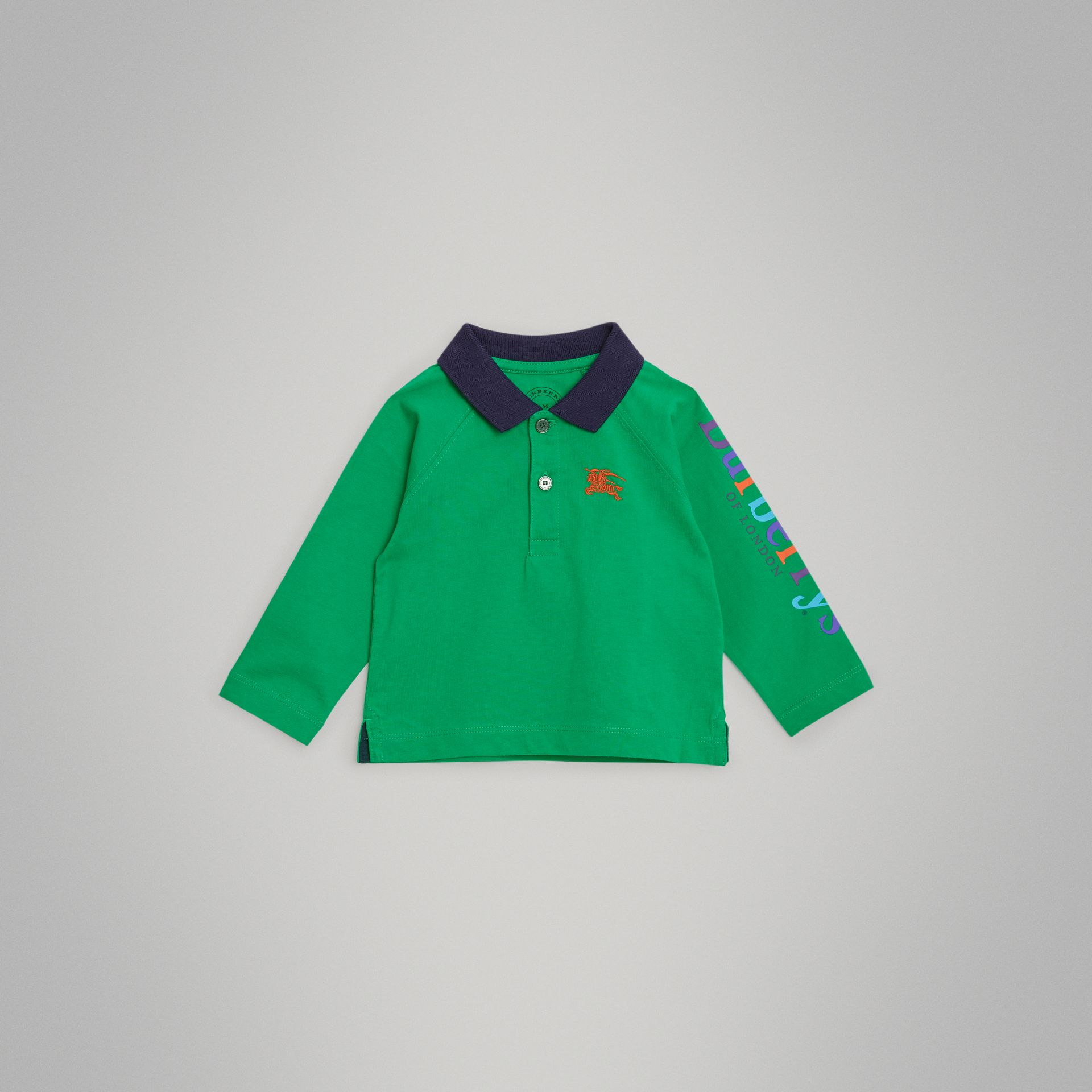 Archive Logo Print Cotton Long-sleeve Polo Shirt in Bright Pigment Green - Children | Burberry - gallery image 0