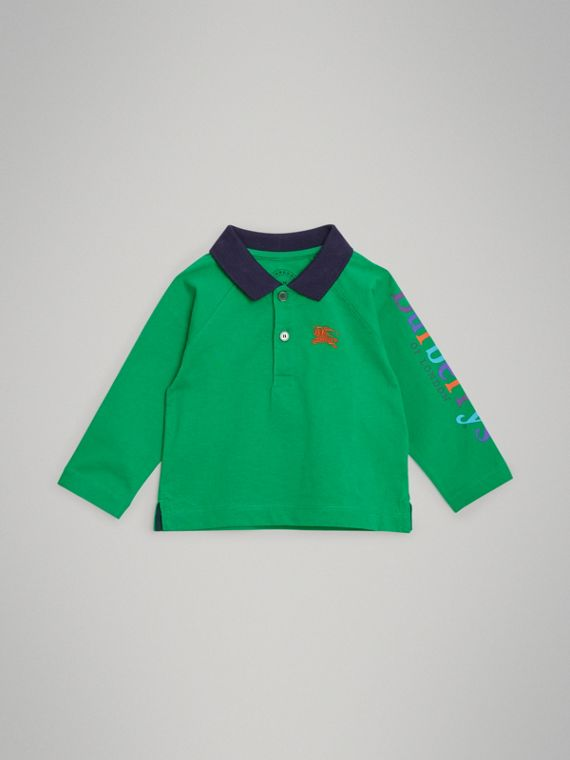 Archive Logo Print Cotton Long-sleeve Polo Shirt in Bright Pigment Green