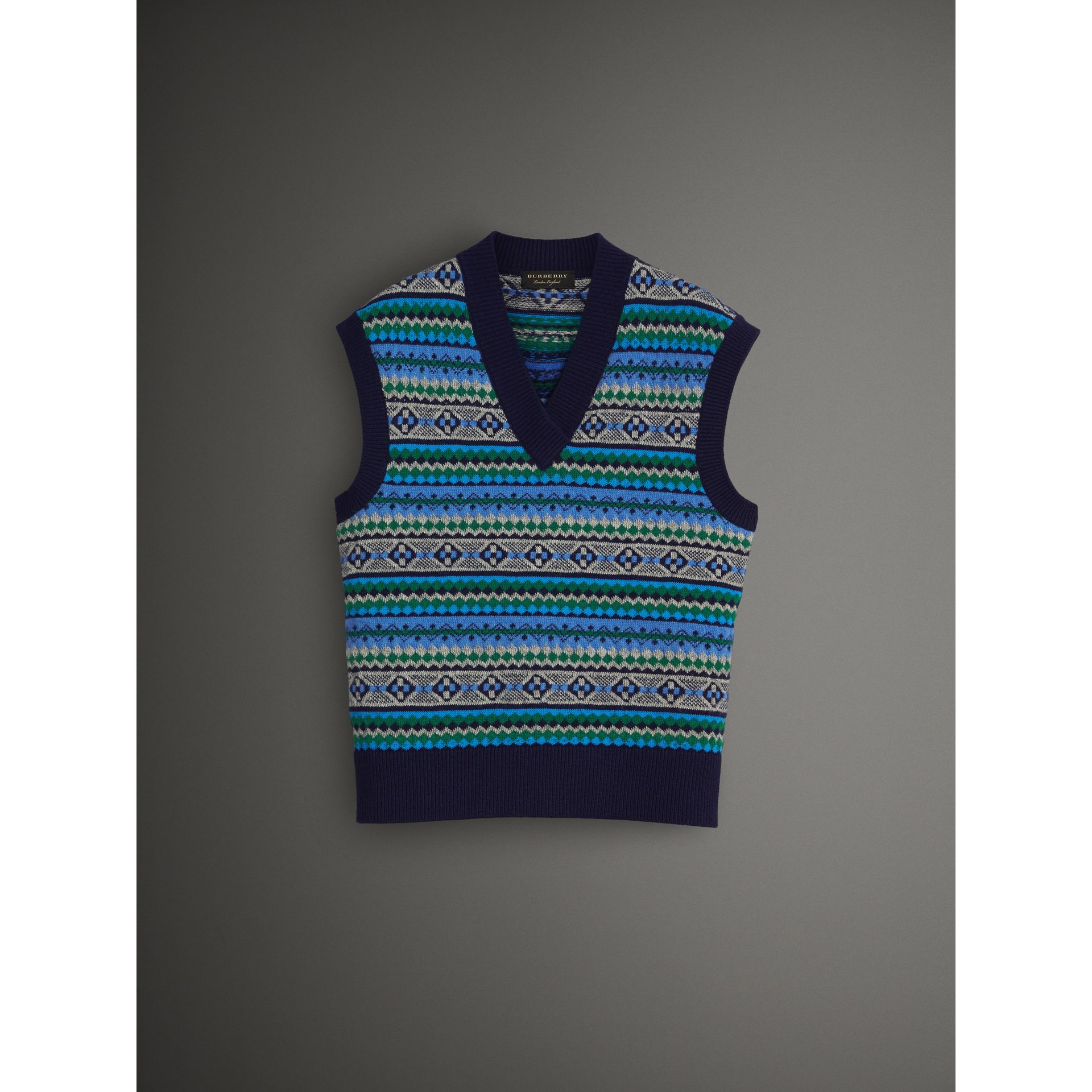 Fair Isle Wool Cropped Tank Top in Navy - Men | Burberry United States - gallery image 4