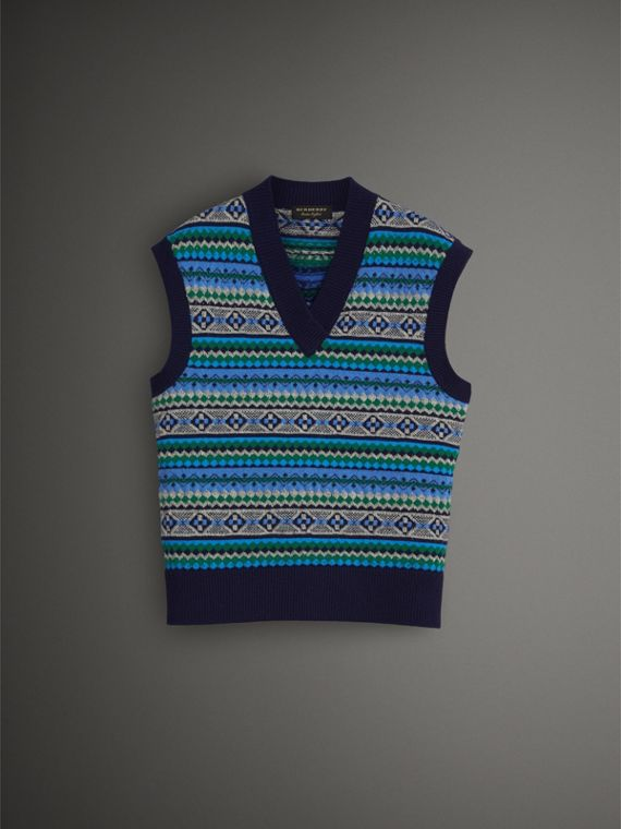 Fair Isle Wool Cropped Tank Top in Navy - Men | Burberry United States - cell image 3