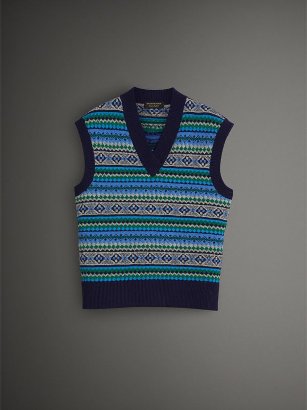 Fair Isle Wool Cropped Tank Top in Navy - Men | Burberry - cell image 3
