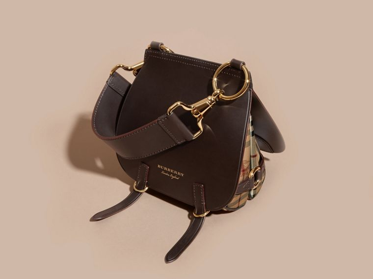 Dark clove brown The Bridle Bag in Leather and Haymarket Check - cell image 4