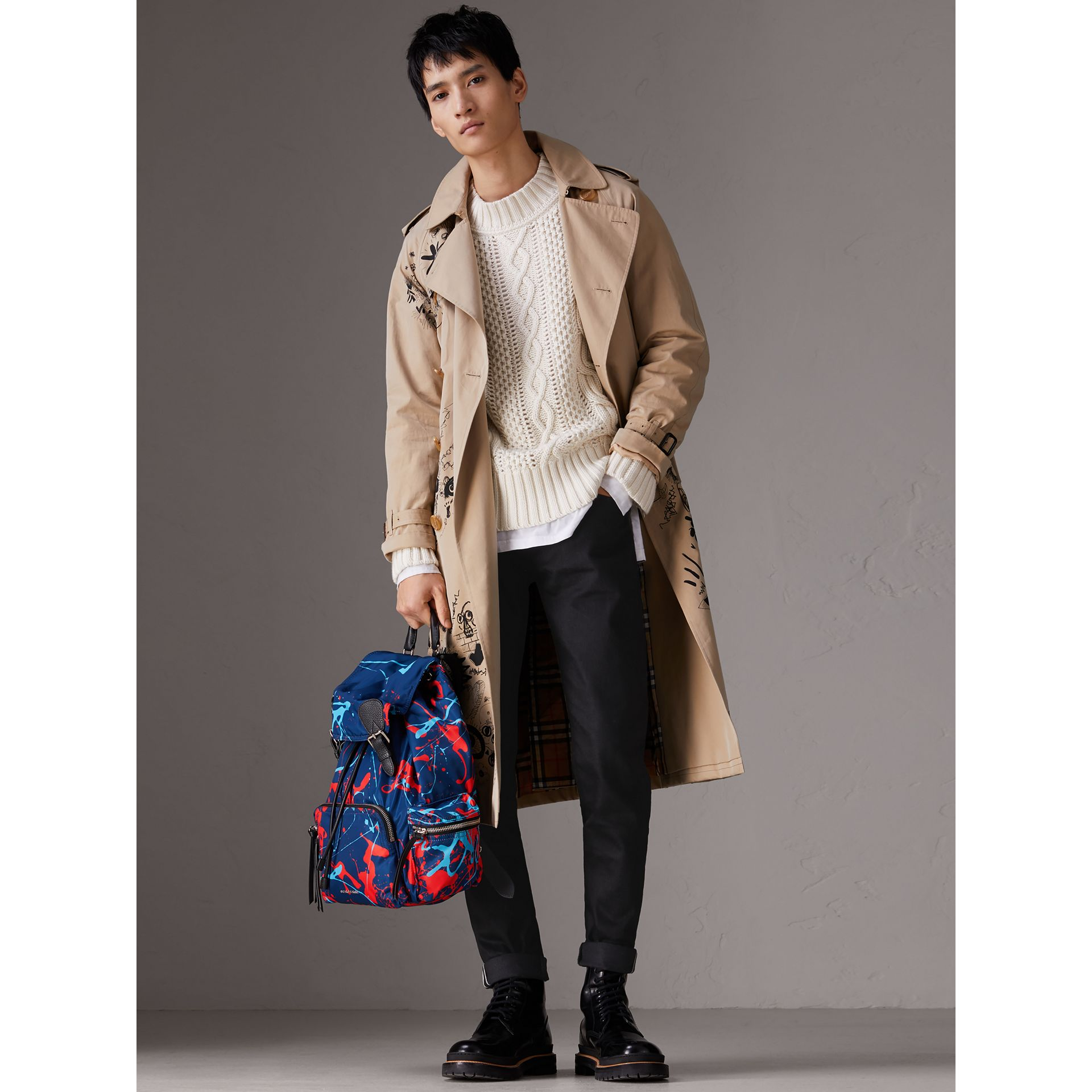 The Large Rucksack in Splash Print in Navy/orange - Men | Burberry Australia - gallery image 2