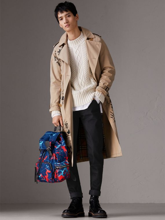 The Large Rucksack in Splash Print in Navy/orange | Burberry Canada - cell image 2