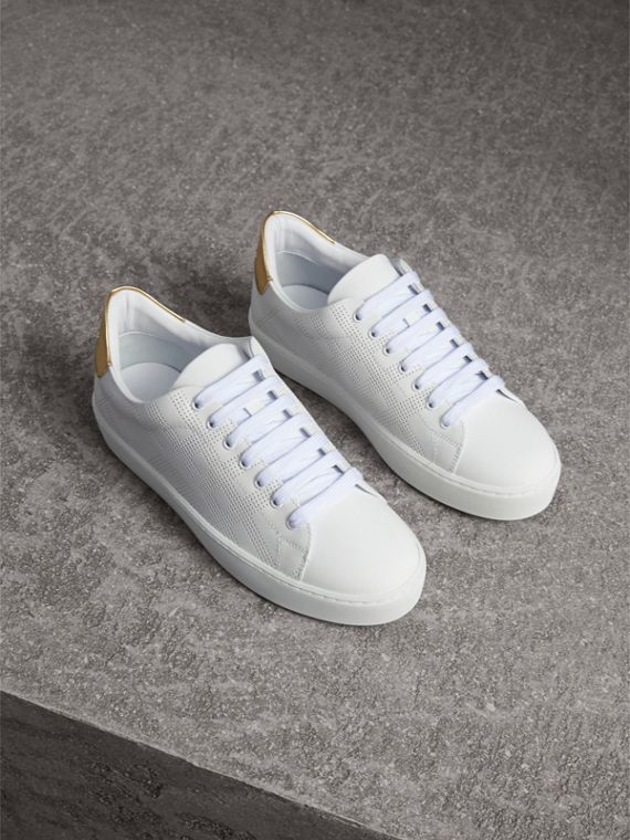 Perforated Check Leather Trainers in Optic White