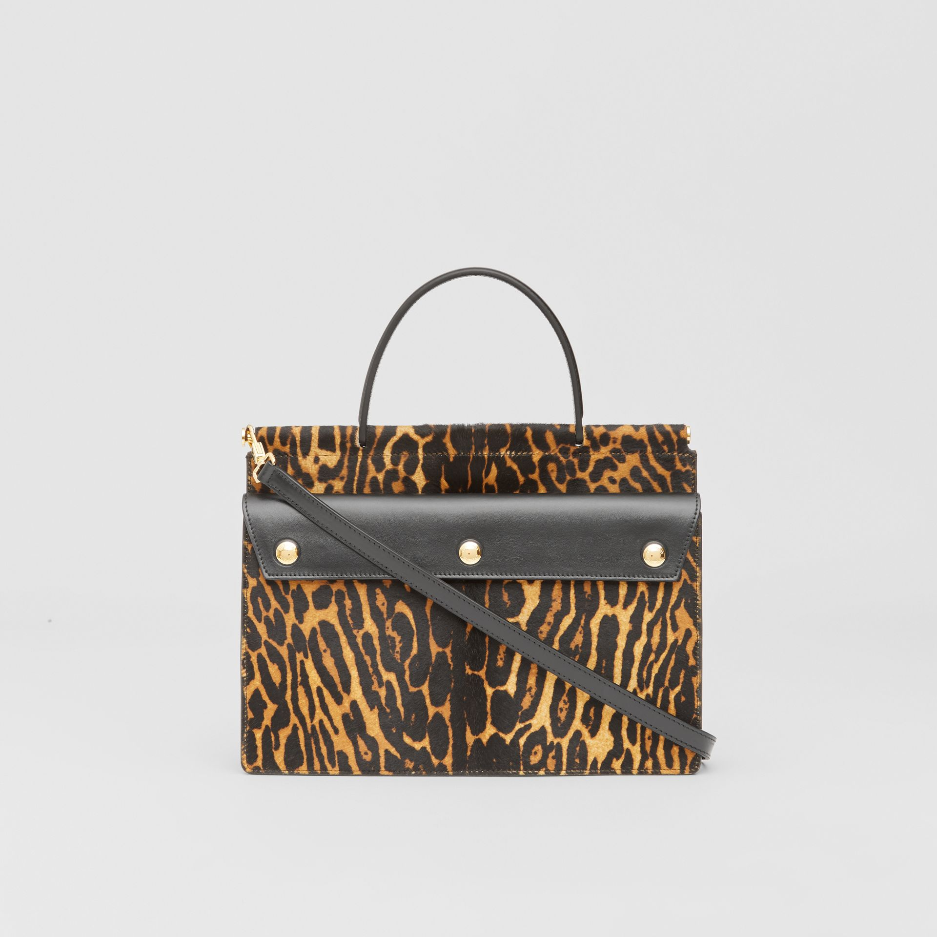 Small Leopard Print Title Bag with Pocket Detail in Black - Women | Burberry United Kingdom - gallery image 5