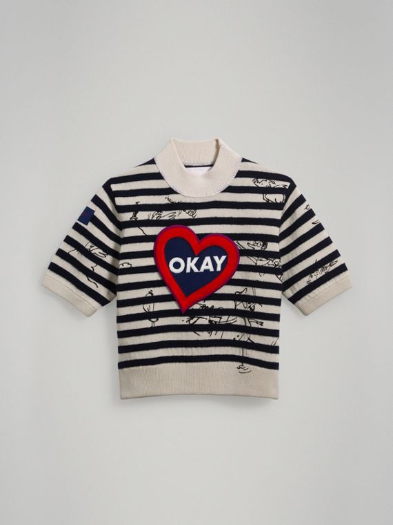 Heart Motif Striped Cotton Wool Sweater in Navy