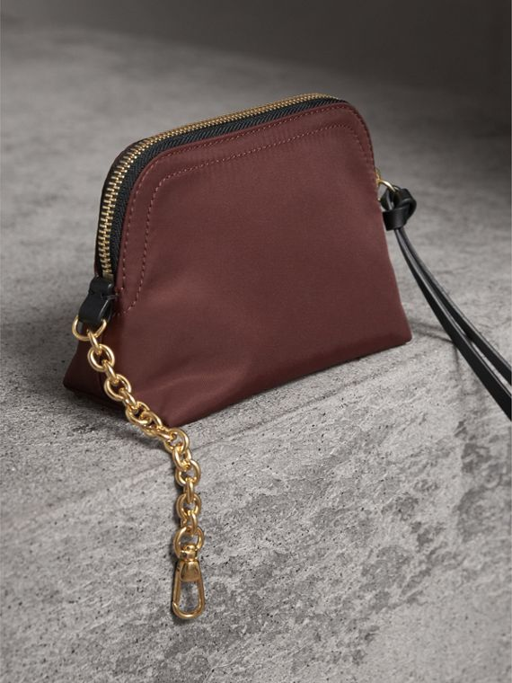Small Zip-top Technical Nylon Pouch in Burgundy Red - Women | Burberry - cell image 2