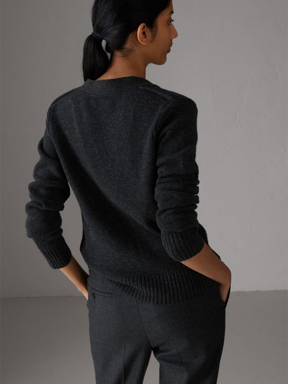 Bird Button Cashmere Cardigan in Charcoal - Women | Burberry Hong Kong - cell image 2