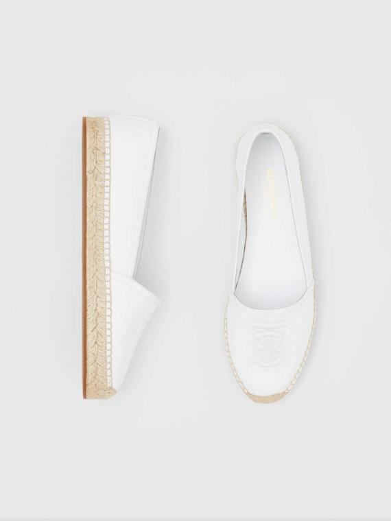 Monogram Motif Leather Espadrilles in White