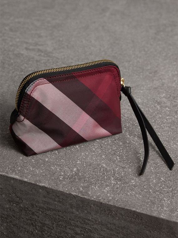 Small Zip-top Check Pouch in Plum - Women | Burberry - cell image 2