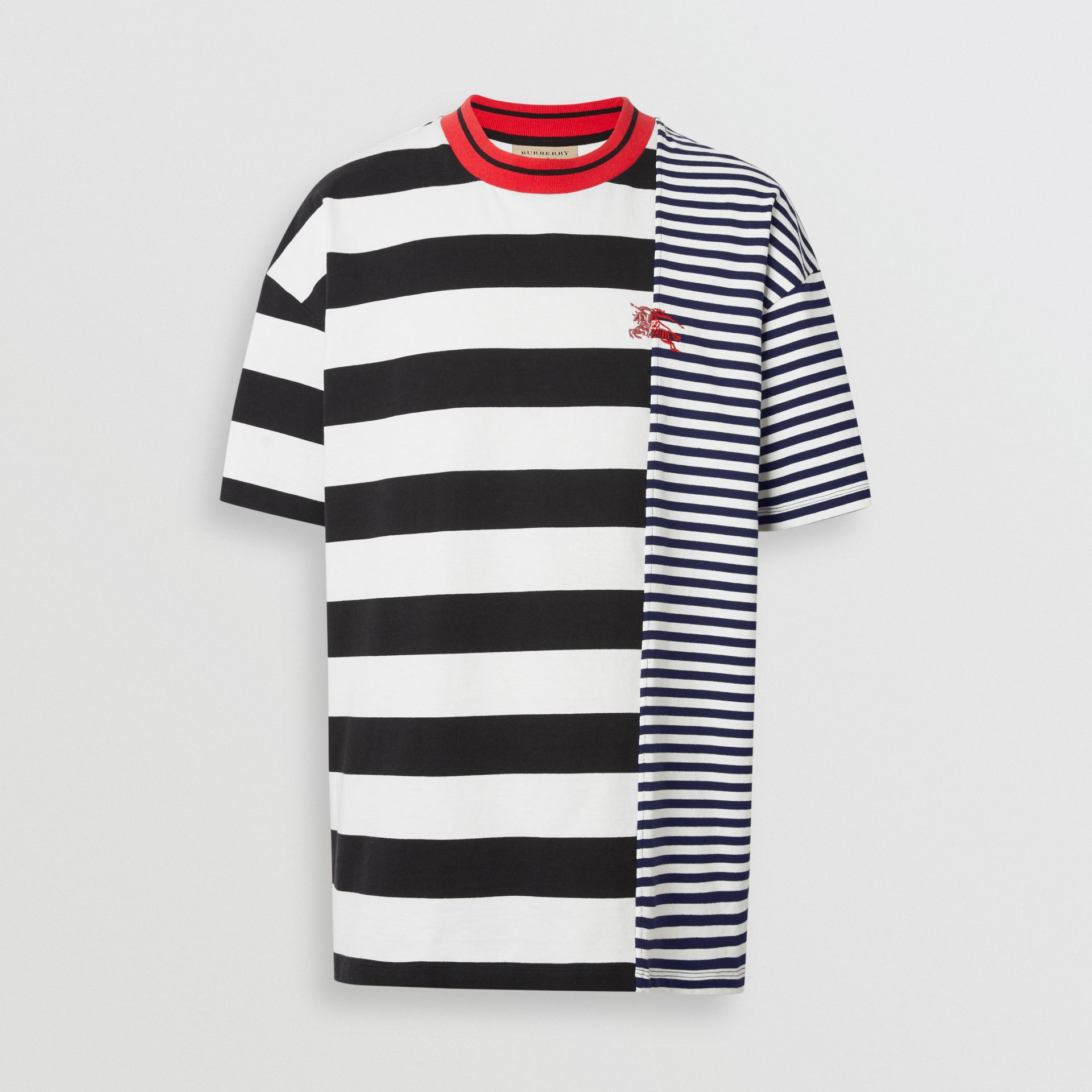 Contrast Stripe Cotton T-shirt in Navy - Men | Burberry Hong Kong - gallery image 3