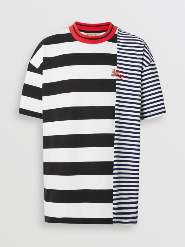 Contrast Stripe Cotton T-shirt in Navy - Men | Burberry - cell image 3