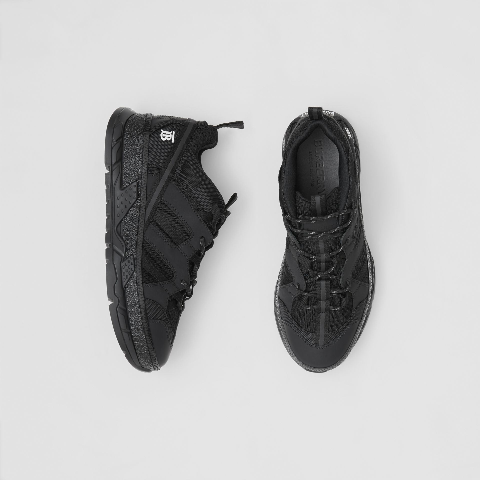Monogram Motif Mesh and Nubuck Sneakers in Black - Men | Burberry - gallery image 0