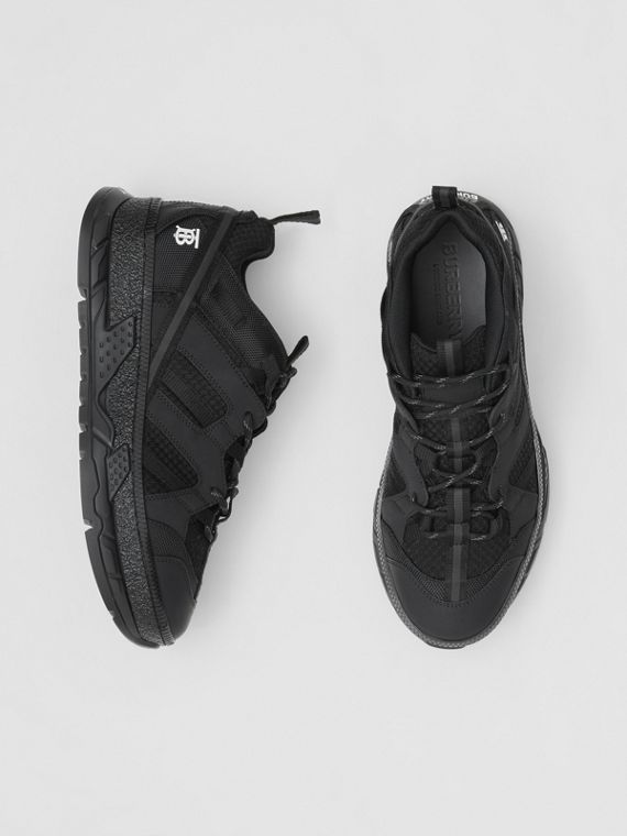 Monogram Motif Mesh and Nubuck Sneakers in Black