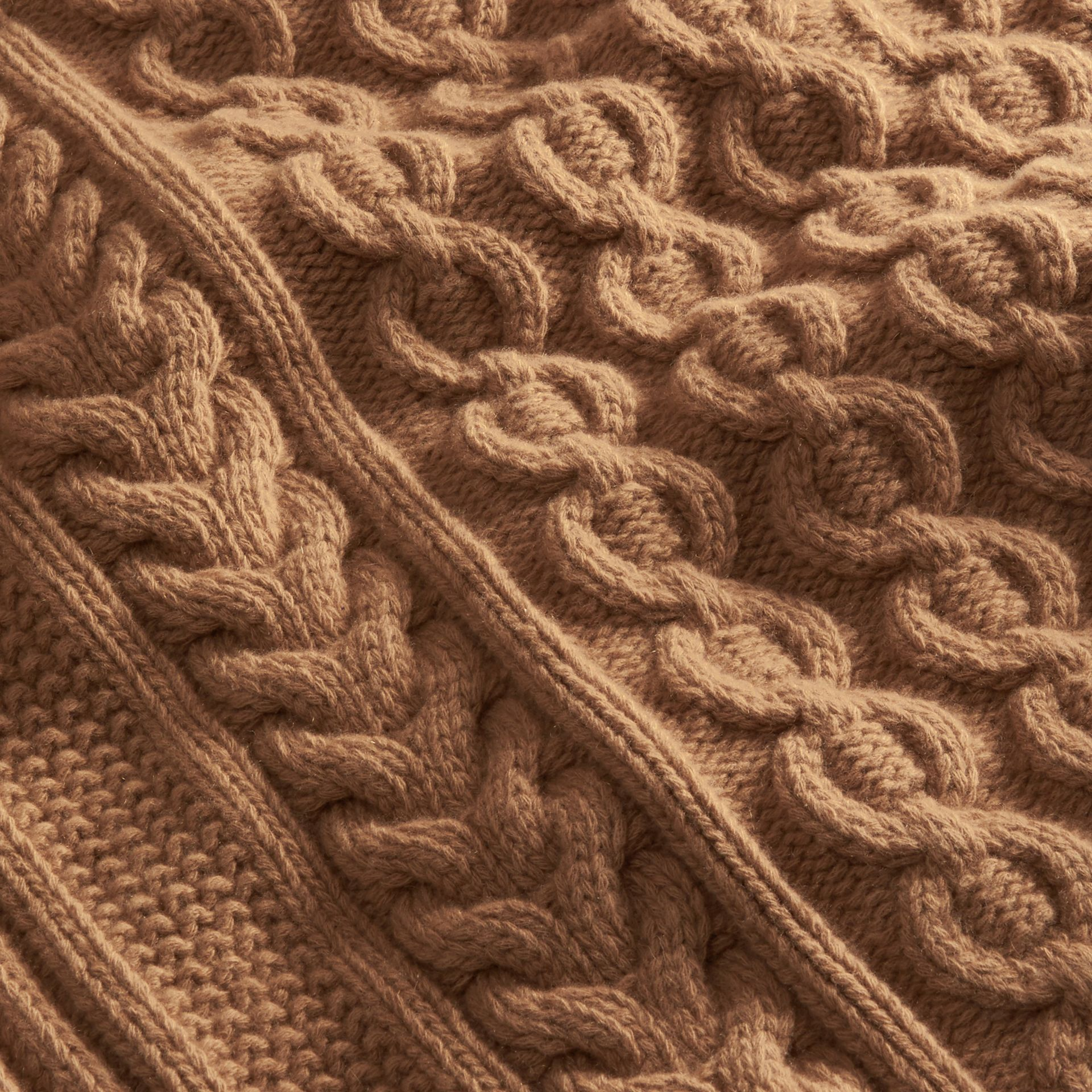 Camel Wool Cashmere Cable Knit Jumper - gallery image 2