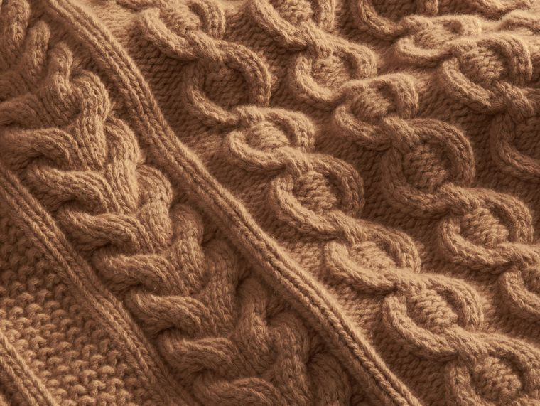 Camel Wool Cashmere Cable Knit Jumper - cell image 1