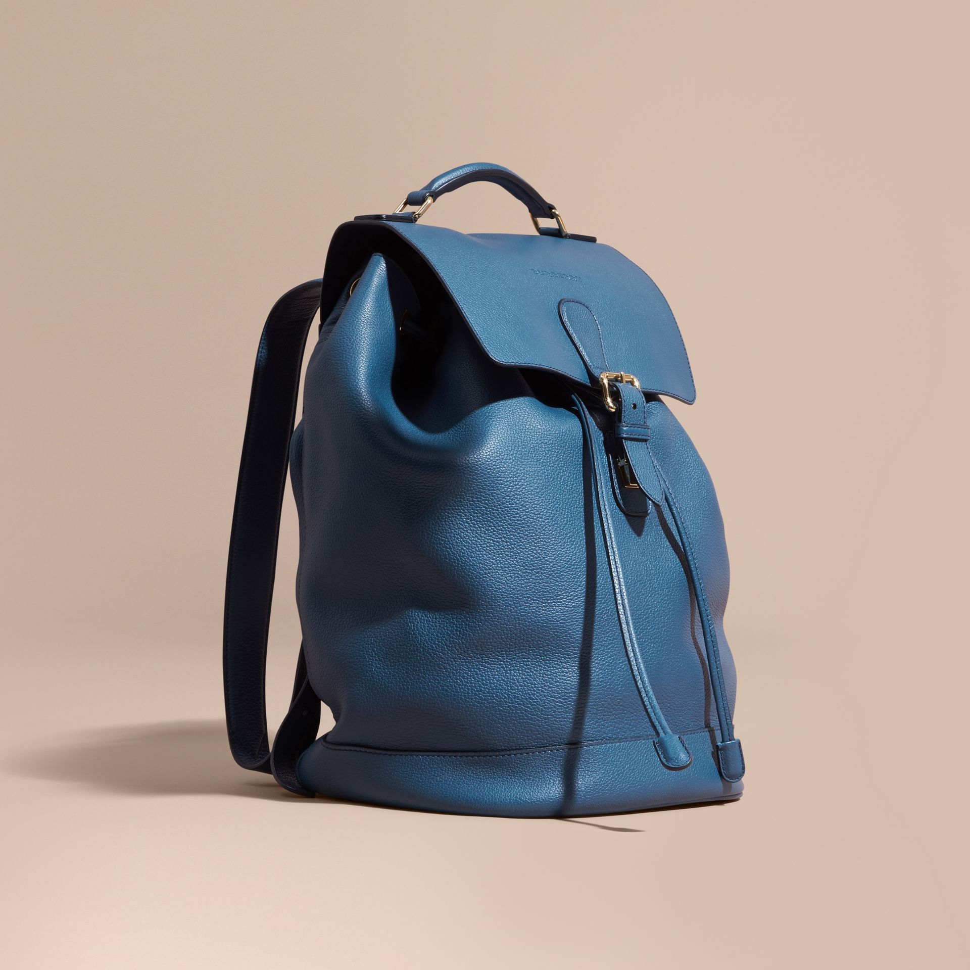 Mineral blue Grainy Leather Backpack Mineral Blue - gallery image 1
