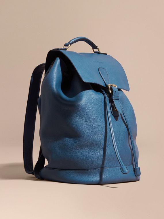 Grainy Leather Backpack Mineral Blue