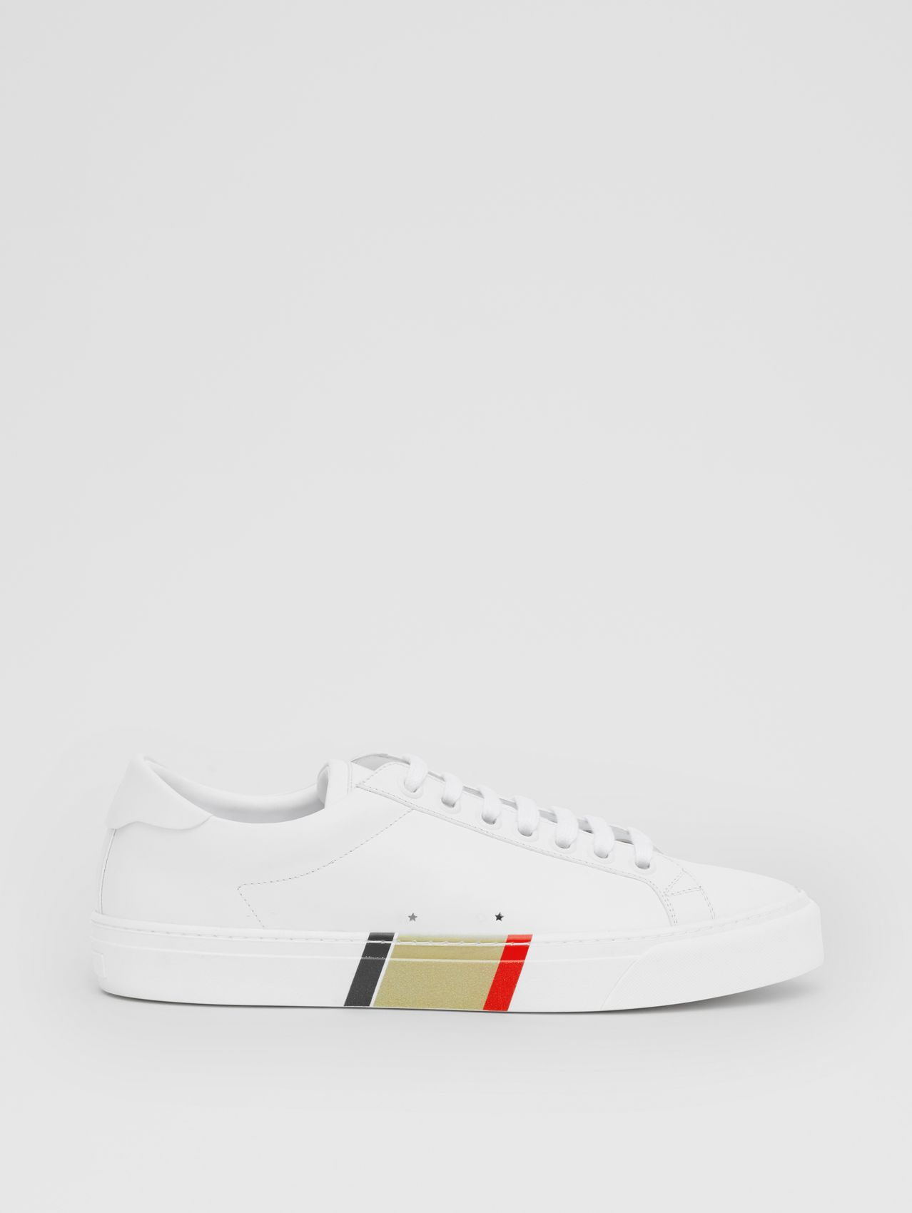 Stripe Print Leather Sneakers in Optic White