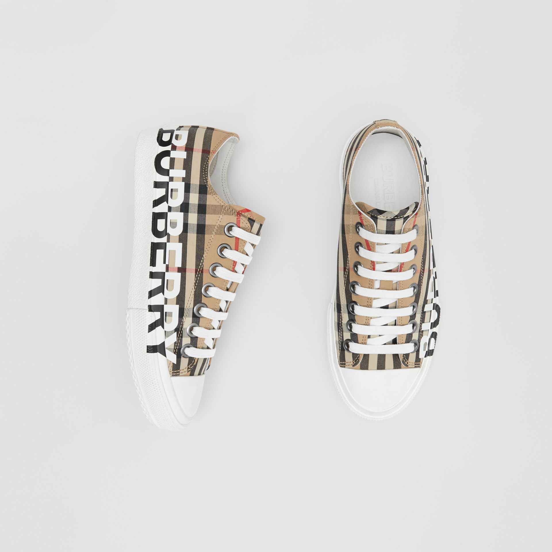 Logo Print Vintage Check Cotton Sneakers in Archive Beige - Women | Burberry - gallery image 0