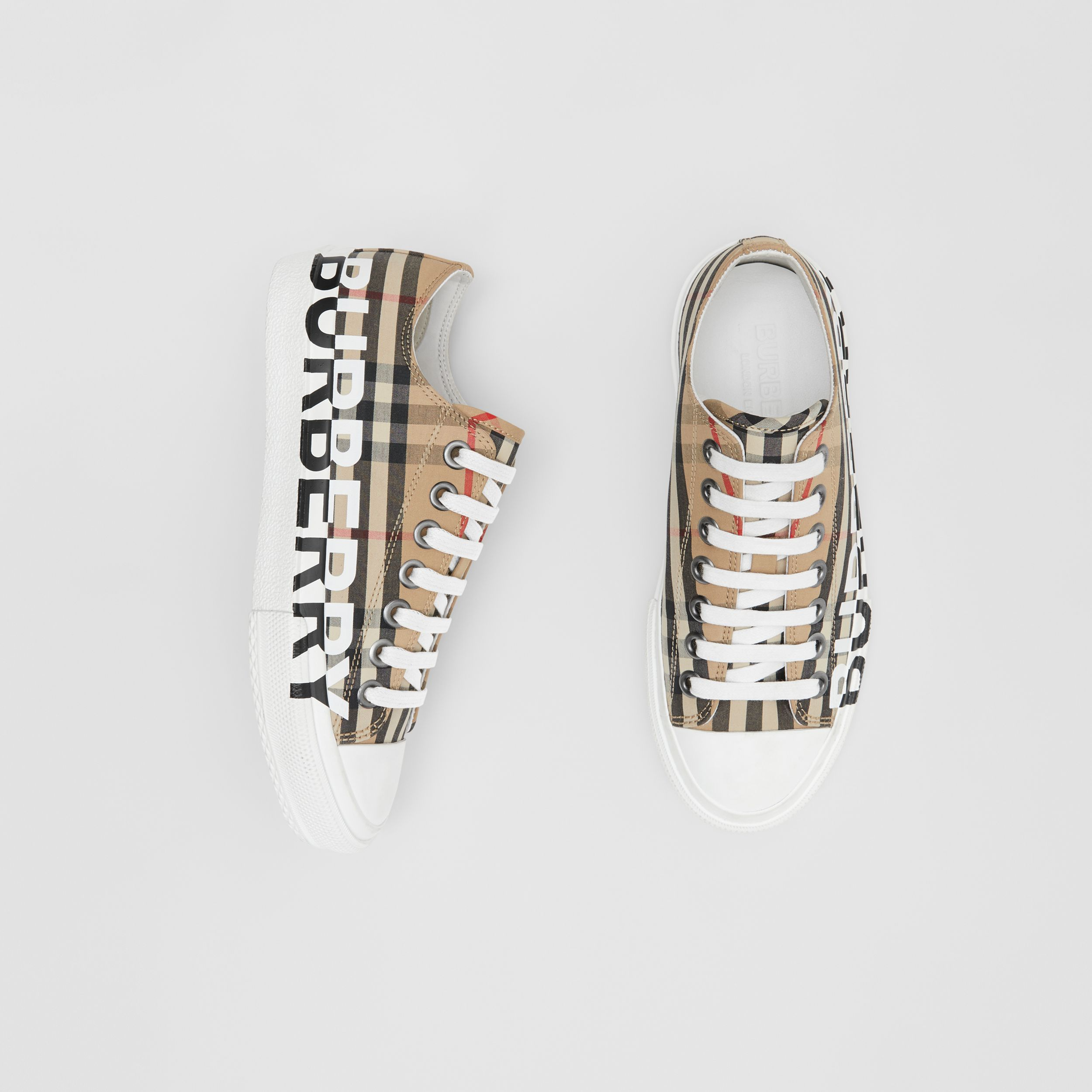 Logo Print Vintage Check Cotton Sneakers in Archive Beige - Women | Burberry - 1