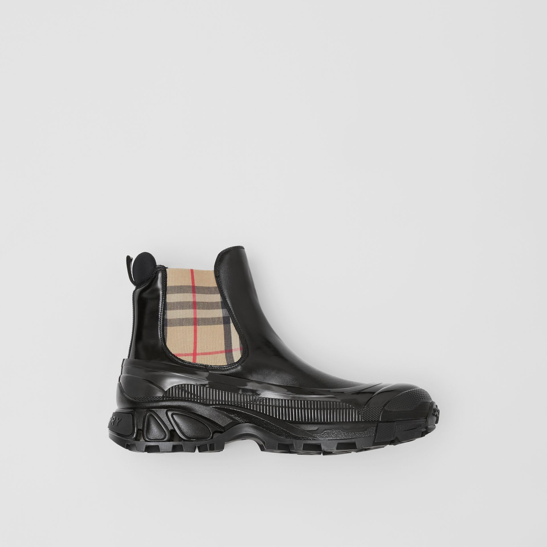 Vintage Check Detail Coated Canvas Chelsea Boots in Black - Men | Burberry - gallery image 0