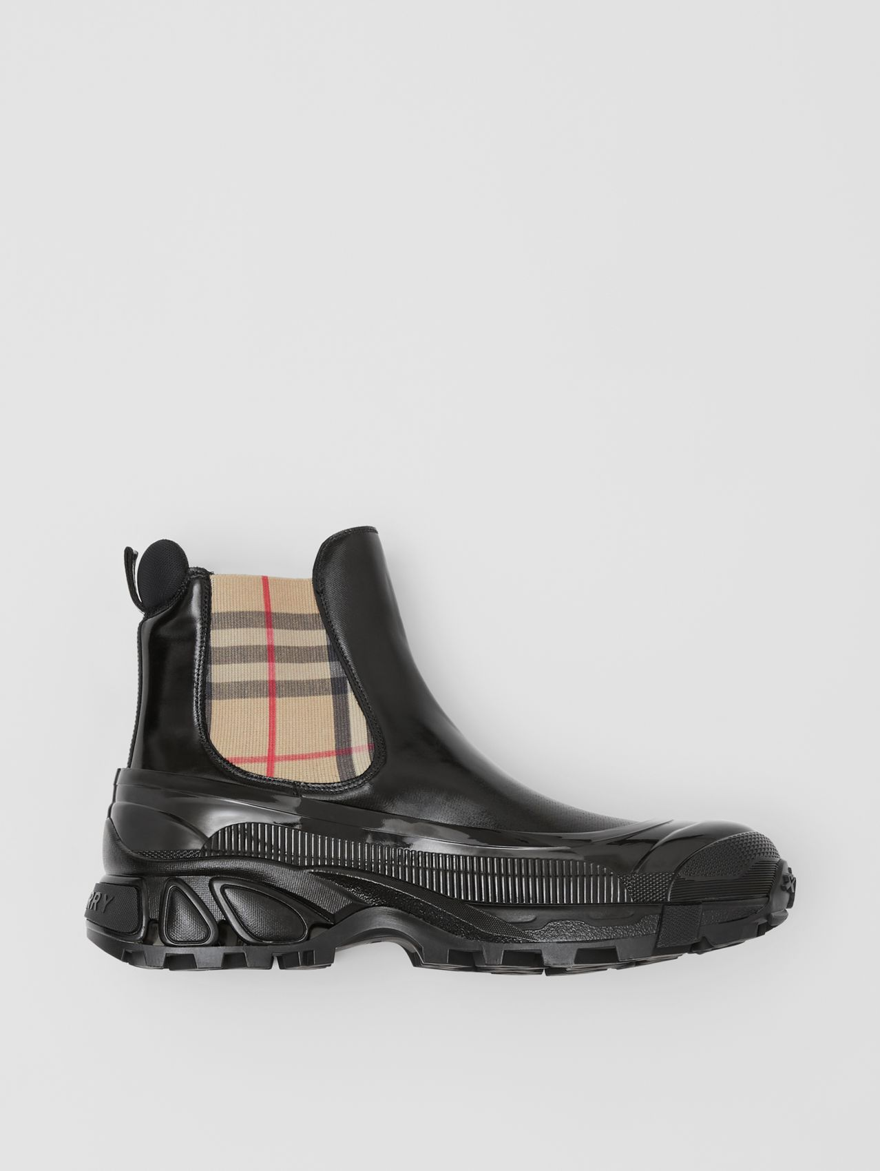Vintage Check Detail Coated Canvas Chelsea Boots (Black)