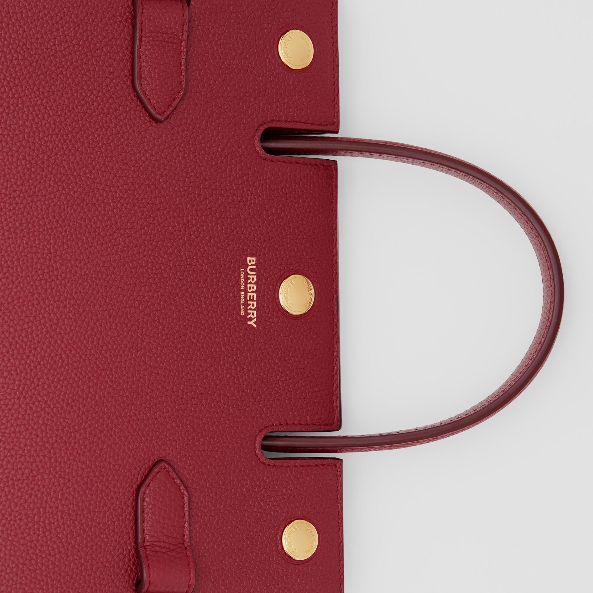 Mini Leather Title Bag in Dark Crimson - Women | Burberry United Kingdom - gallery image 1