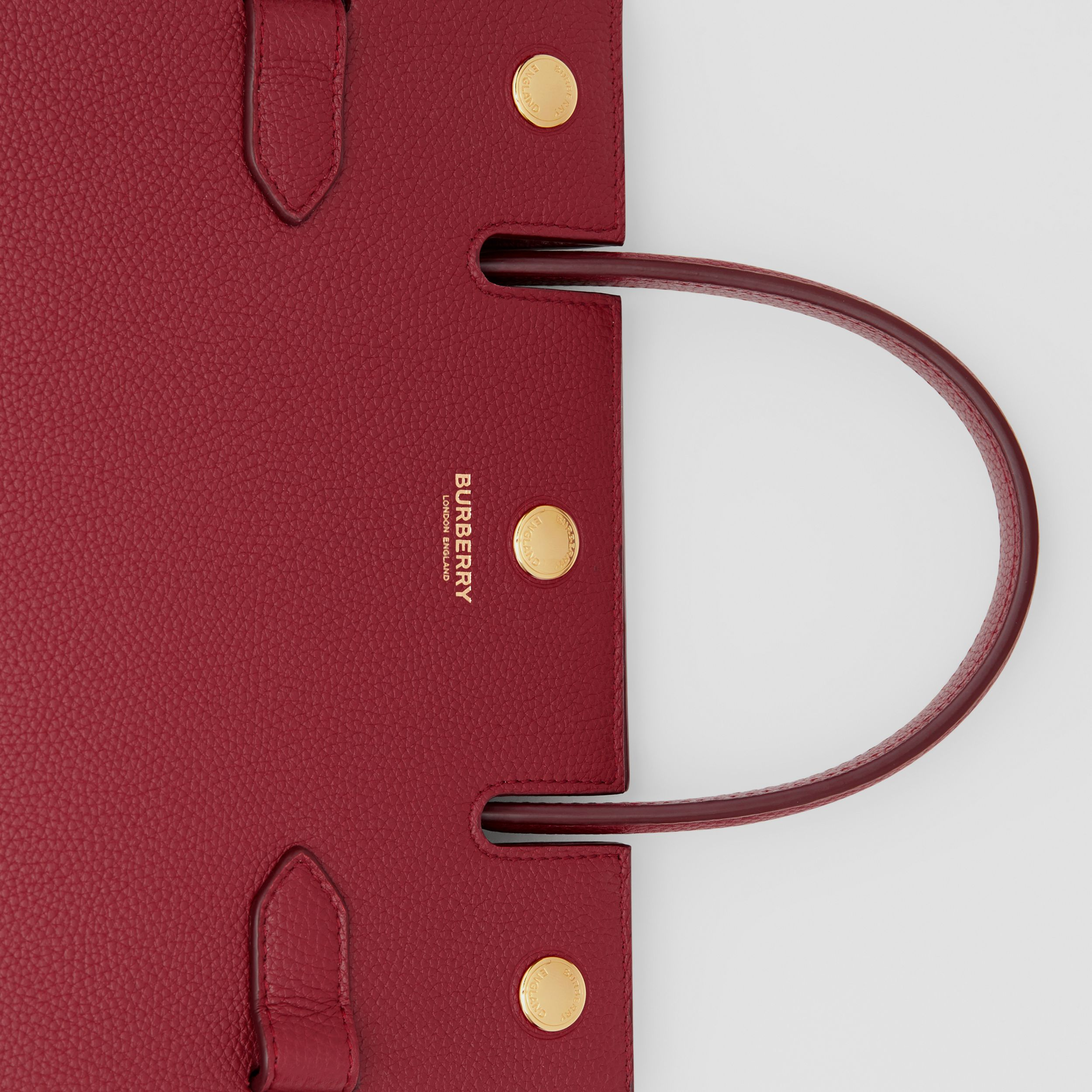 Mini Leather Title Bag in Dark Crimson - Women | Burberry Australia - 2