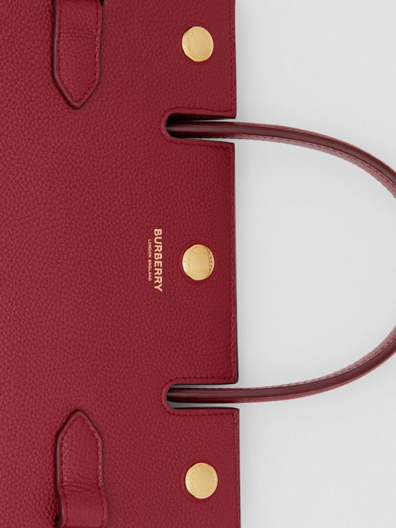 Mini Leather Title Bag in Dark Crimson - Women | Burberry United Kingdom - cell image 1