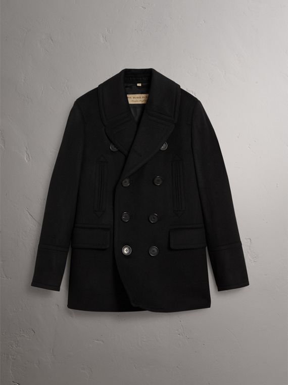 Wool Cashmere Pea Coat in Black - Men | Burberry Singapore - cell image 3