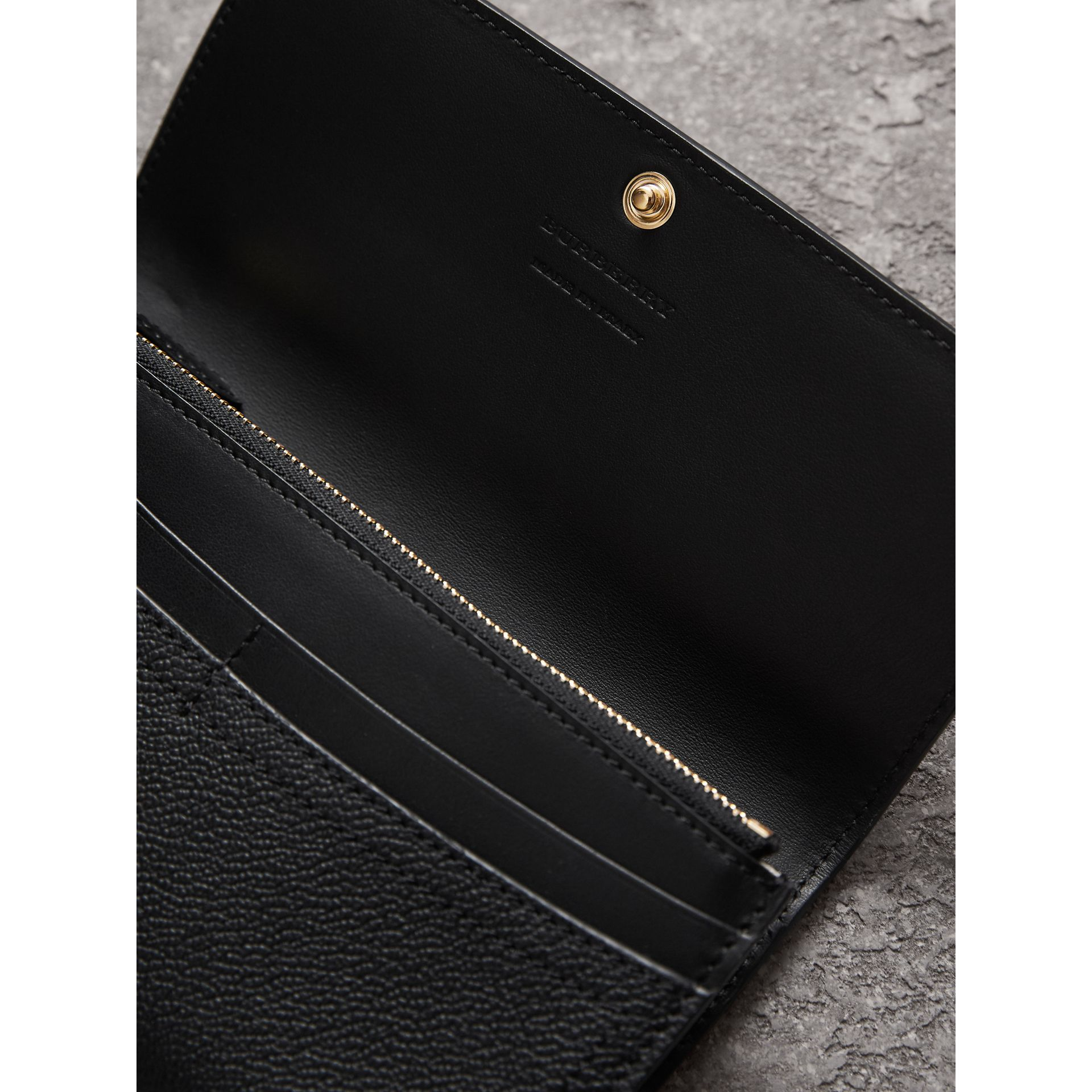 Grainy Leather Slim Continental Wallet in Black - Women | Burberry - gallery image 3