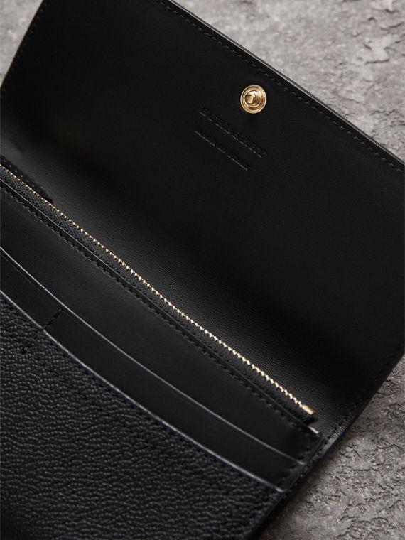 Grainy Leather Slim Continental Wallet in Black - Women | Burberry Canada - cell image 3