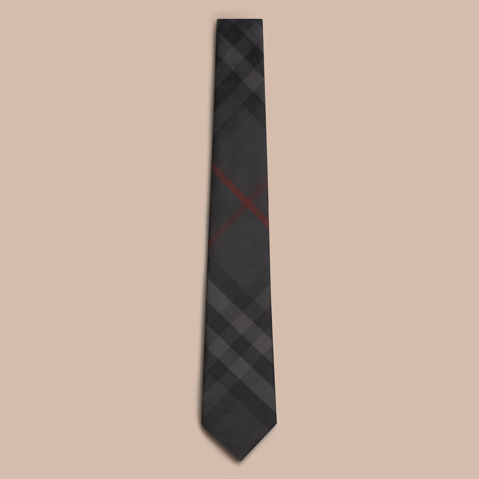 Classic Cut Check Silk Tie in Charcoal - Men | Burberry - gallery image 1