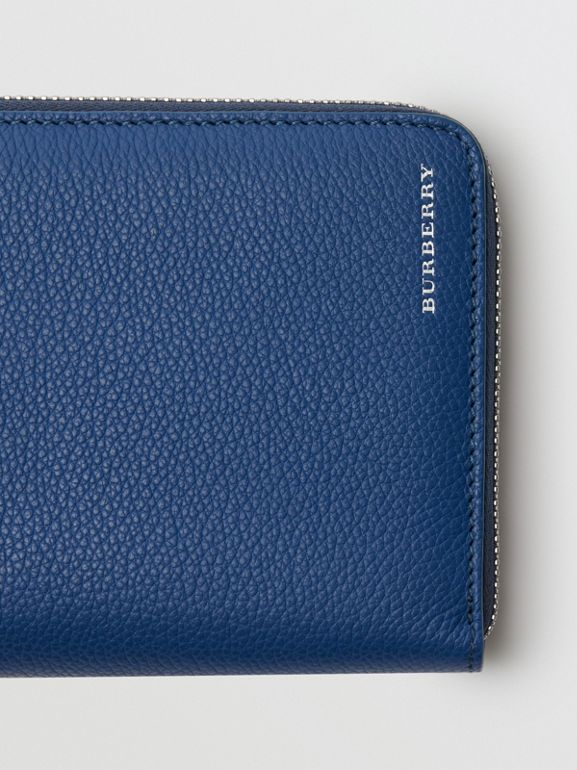 Grainy Leather Ziparound Wallet in Bright Ultramarine - Men | Burberry - cell image 1