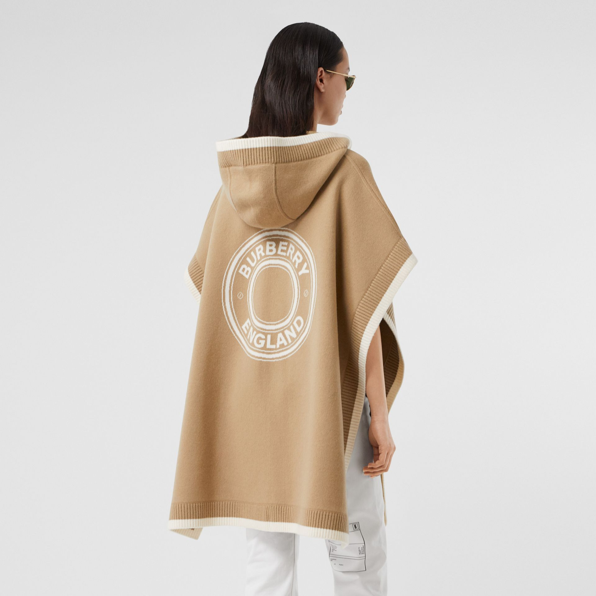 Logo Graphic Wool Cashmere Jacquard Hooded Cape in Archive Beige - Women | Burberry United Kingdom - gallery image 6