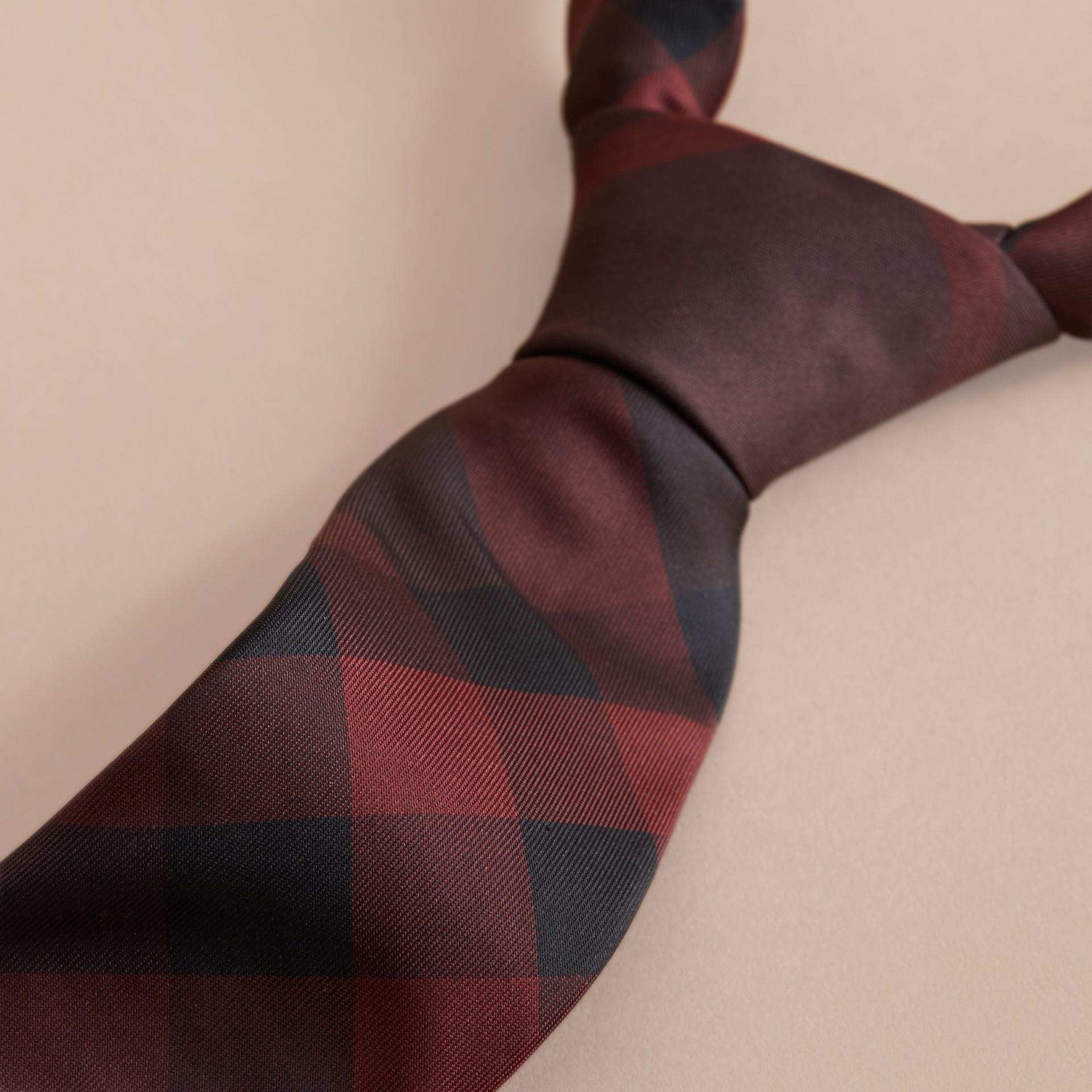 Deep claret Modern Cut Check Silk Tie Deep Claret - gallery image 2