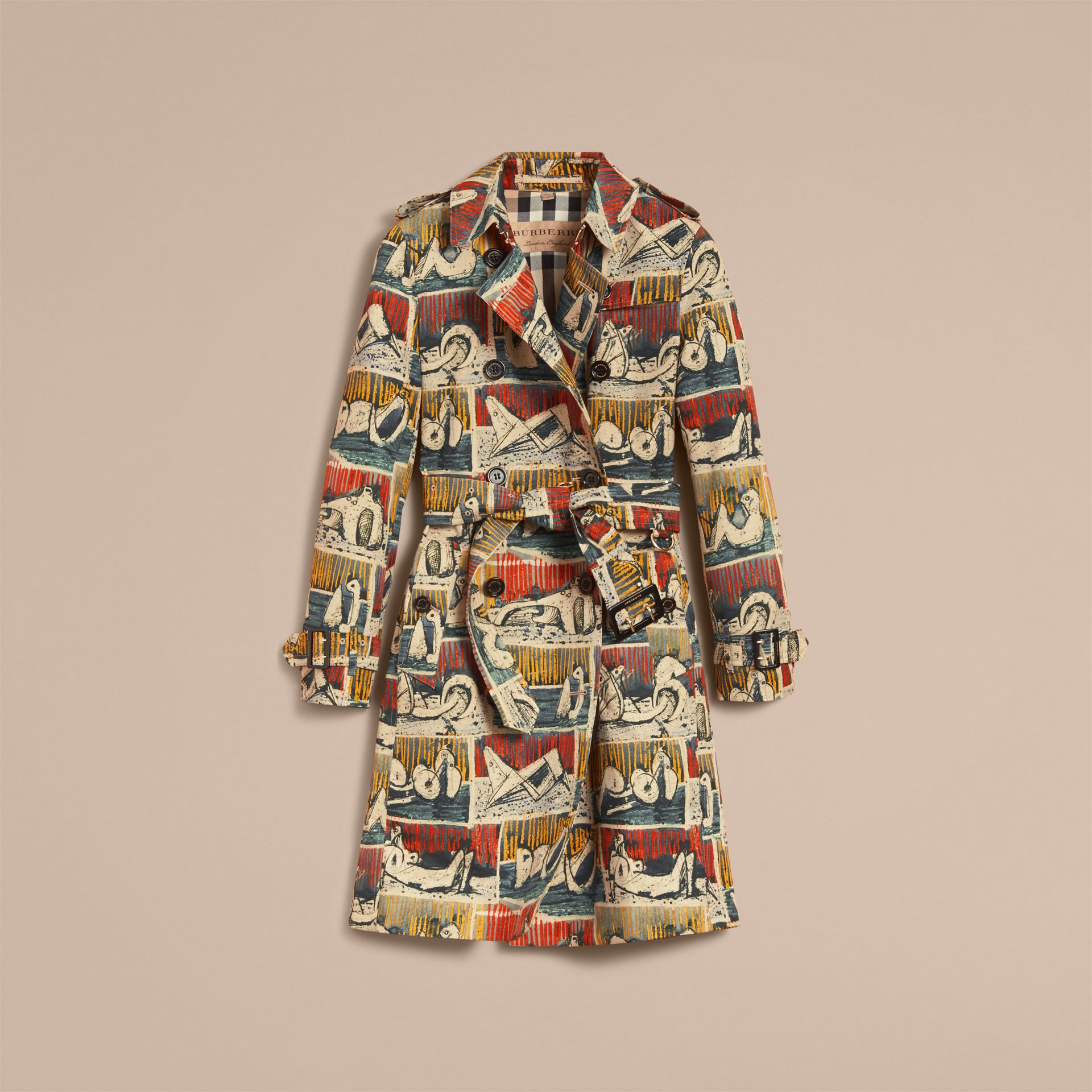 Reclining Figures Print Cotton Trench Coat in Stone Blue - Women | Burberry - gallery image 4