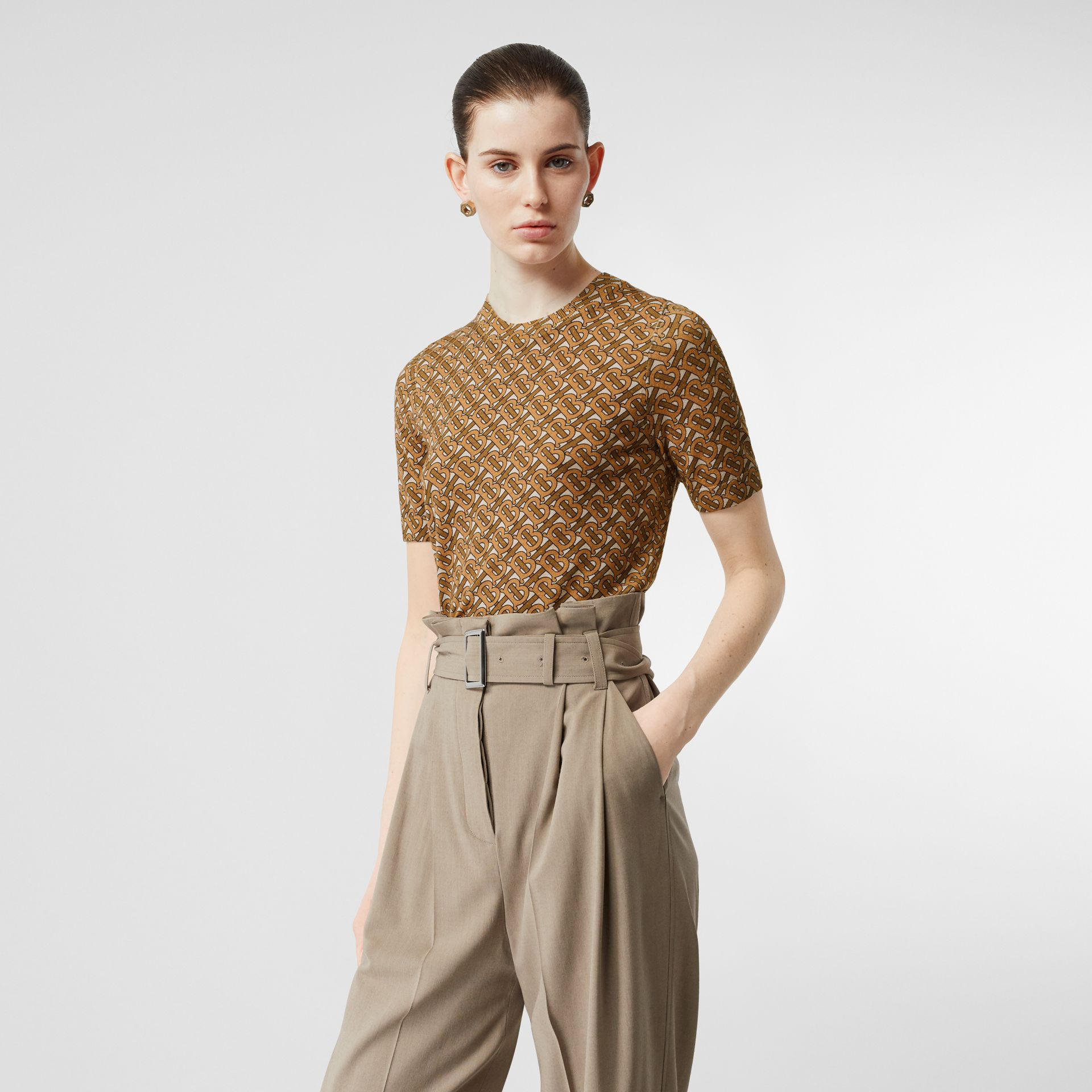 Monogram Print Merino Wool Top in Beige - Women | Burberry Singapore - gallery image 4